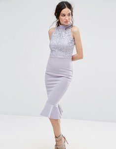 Read more about Missguided lace top fishtail midi dress - grey