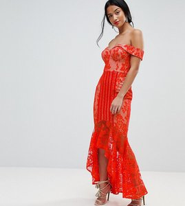 20a09d34380 Read more about Jarlo petite all over lace off shoulder fishtail midi dress  - tomato orange