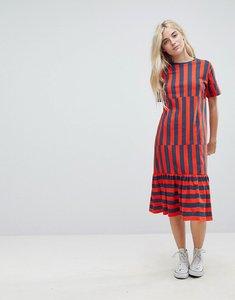 Read more about Asos midi block stripe t-shirt dress - navy red stripe