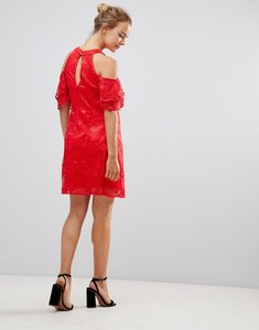 Read more about Little mistress cold shoulder lace shift dress - red