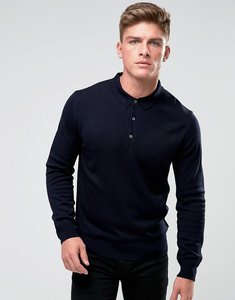 Read more about French connection knitted long sleeve polo - navy