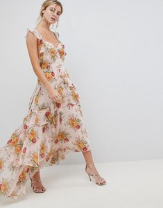 Read more about Asos design ruffle maxi dress in rose floral print - floral print
