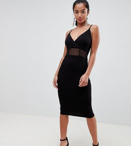 Read more about Asos design petite midi cami bodycon dress with mesh insert detail - black