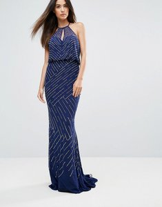 Read more about Forever unique all over embellished maxi dress with drape back - navy