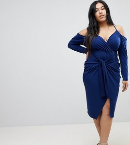 Read more about Asos curve slinky wrap cold shoulder midi dress - navy