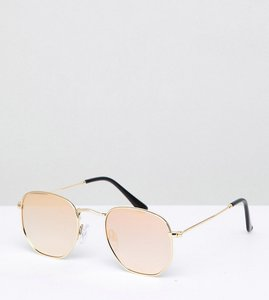 Read more about South beach hexagonal lens mirrored sunglasses - pink