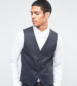 Read more about Selected homme suit waistcoat with brushed tonal check in skinny fit - charcoal