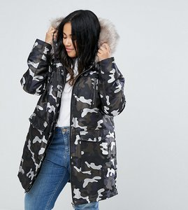 Read more about Asos curve parka in camo jacquard - multi