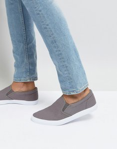 Read more about Asos design slip on plimsolls in grey canvas - grey