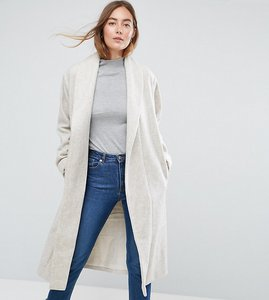 Read more about Asos tall shawl collar belted coat - cream