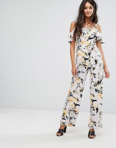 Read more about Miss selfridge printed ruffle jumpsuit - multi print
