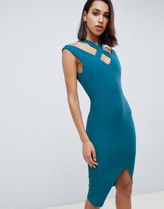 Read more about Vesper wrap front midi dress with cut out detail