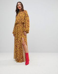 Read more about Mango split front floral maxi dress - yellow