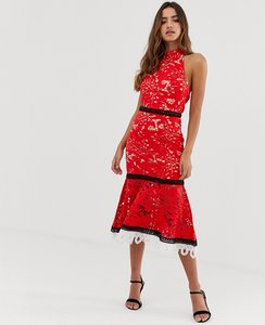 Read more about Forever u halter neck crochet lace midi dress in red