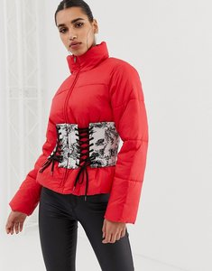 Read more about Asos puffer jacket with printed corset - red