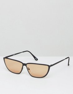 Read more about Asos 80s small metal cat eye fashion sunglasses with light brown lens - black