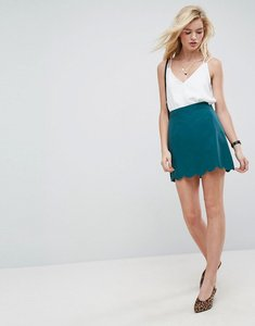 Read more about Asos tailored a-line mini skirt with scallop hem - teal