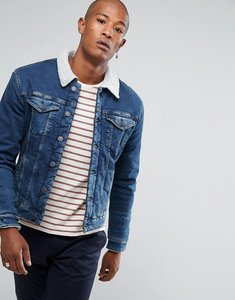 Read more about Selected homme denim jacket fully lined teddy fleece - blue denim