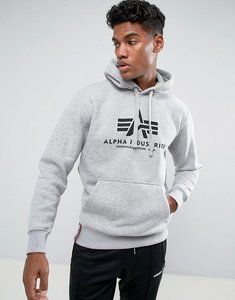 Read more about Alpha industries logo hoodie sweatshirt in grey marl - grey marl