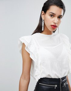 Read more about Y a s ruffle detail cotton blouse - white