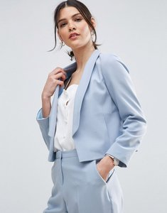 Read more about Asos crop tailored blazer in crepe with collar detail - ice blue
