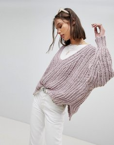 Read more about Free people oversized open knit jumper - lavander
