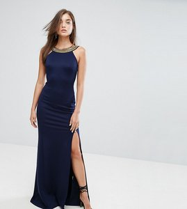 Read more about Tfnc highneck maxi dress with embellished back - navy gold