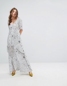 Read more about Lily and lionel tiered maxi dress in celestial print - white