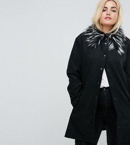 Read more about Brave soul plus davina coat with faux fur collar - black