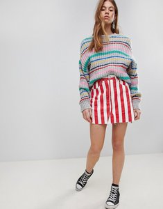 Read more about Glamorous denim mini skirt in contrast stripe - red white stripe