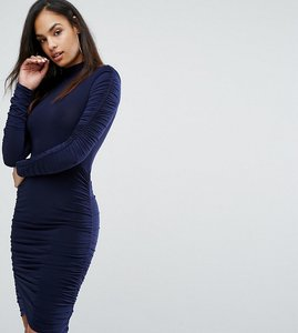 Read more about Club l power shoulder ruched gathered detail dress - navy