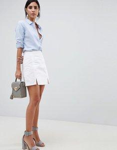 Read more about Asos design denim mini skirt in white with split detail - white