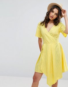 Read more about Asos wrap mini dress - yellow