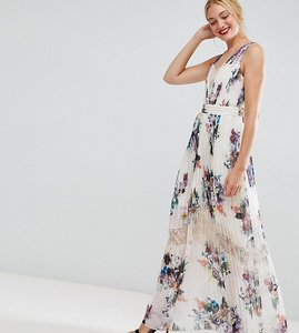 Read more about Little mistress tall pleated maxi dress in floral print in cream multi