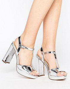 Read more about Head over heels by dune missy metallic platform heeled sandals - silver
