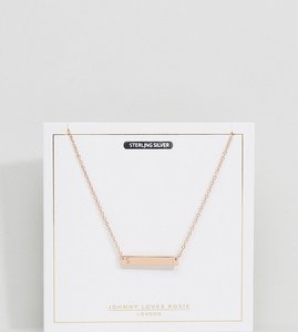 Read more about Johnny loves rosie rose gold plated s initial bar necklace - rose gold