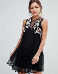 Read more about Asos floral embellished dobby mesh smock mini dress - black
