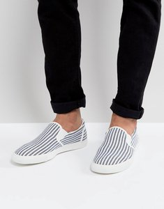 Read more about Asos slip on plimsolls in blue and white stripe - white