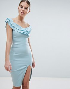 Read more about Vesper sweetheart plunge midi pencil dress with thigh split - cornflower blue