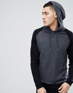 Read more about Asos design hoodie in waffle with contrast raglan sleeves in black - black charcoal