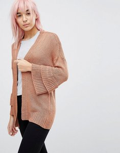 Read more about Brave soul frill sleeve cardigan in chenille - terracotta