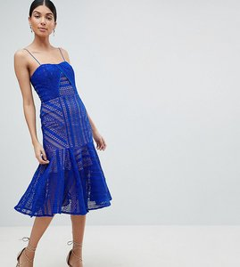 Read more about Jarlo tall cami strap lace midi dress - cobalt