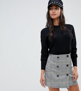 Read more about Asos design petite double breasted mini skirt in yellow and blue check - check