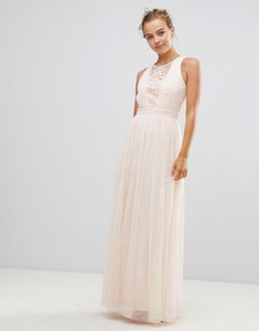 Read more about Little mistress chiffon maxi dress with lace insert - light pink