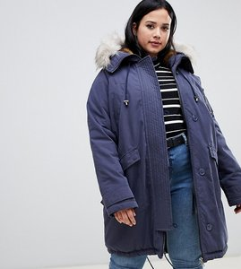 Read more about Asos design curve luxe parka with faux fur trim - navy