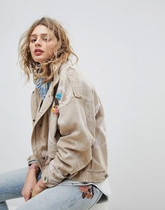 Read more about Maison scotch oversized army jacket with safari pockets - sand