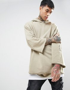 Read more about Asos oversized hoodie with raw edges sleeve pocket in wash - barley
