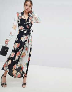 Read more about Miss selfridge maxi dress with wrap front in mixed floral print - multi