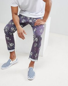 Read more about Asos slim cropped trousers in vintage washed out leaf print - navy