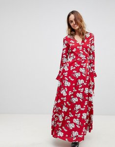 Read more about Liquorish floral wrap maxi dress - red